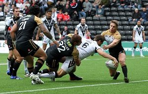 Widnes Vikings v Wigan Warriors 11th March 2012. Lloyd White touches down for the fourth try for the Vikings.