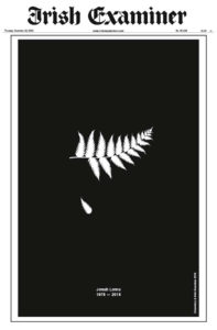 Irish Examiner 19 November 2015 front page commemorates Jonah Lomu with a silver fern and a frond falling on black picture supplied via twitter Irish Examiner ‏@irishexaminer 3h3 hours ago A tribute from our front page to the late rugby legend #JonahLomu who sadly passed away at the age of 40. #RIPJonah